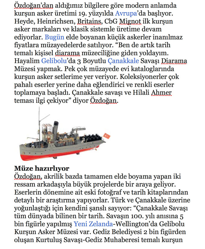 Cem Ozdogan Newspaper Article About His Turkish Soldiers